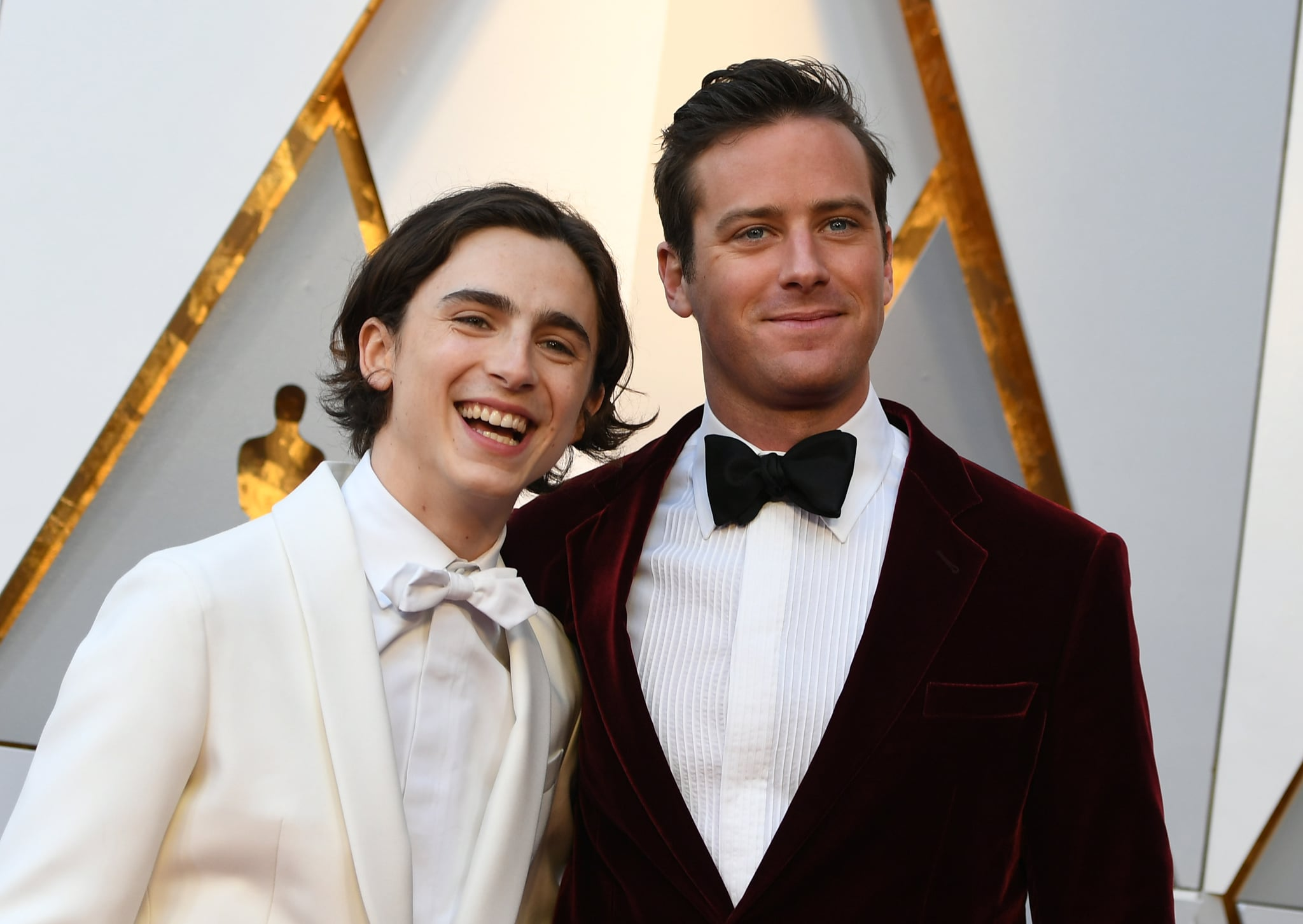 Actor Timothée Chalamet, left, and Actor Armie Hammer arrive for the 90th Annual Academy Awards on March 4, 2018, in Hollywood, California.  / AFP PHOTO / VALERIE MACON        (Photo credit should read VALERIE MACON/AFP/Getty Images)