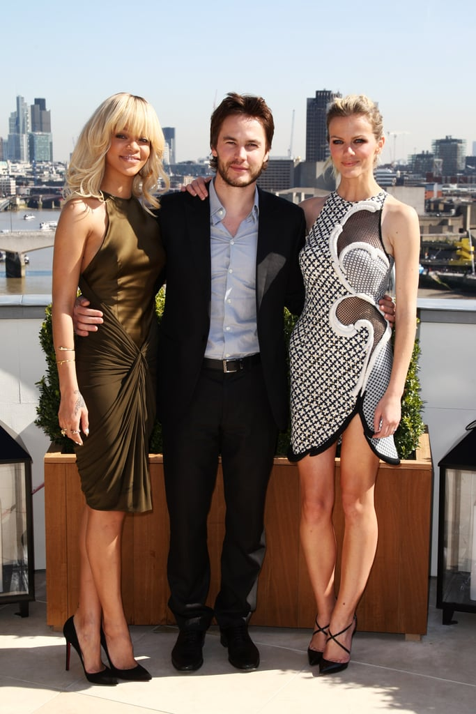 The gang from Battleship dressed up yesterday for a photo call on behalf of their upcoming blockbuster at London's Corinthia Hotel. Brooklyn Decker donned a Stella McCartney dress that is a celeb favorite — Gwyneth Paltrow wore it to an event in China, while Sienna Miller donned it on a recent British Vogue cover. Rihanna was decked out in a silky dress and Taylor Kitsch looked hot in a suit. The long promotional road is just starting for the trio ahead of the film's Australian release on April 12. Brooklyn, though, has already been making the rounds for nearly a week. She and Taylor were in Hamburg, Germany, a few days ago, along with director Peter Berg. Brooklyn was also in LA for WonderCon, and attended a panel with the movie's other leading man Alexander Skarsgård. Between all the work, Brooklyn's found time to shop. She recently tweeted a photo of her idea of heaven, the candy selection at Harrods! The cast will make their way to Australia next month to do some press as well.