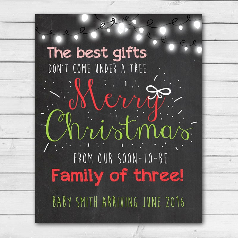 christmas chalkboard pregnancy announcement card cute holiday