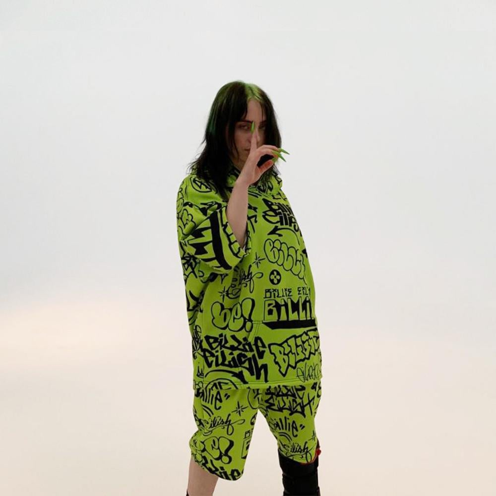 Green Graffiti Hoodie Shorts Set Billie Eilish X Freak City Collection Popsugar Fashion Uk Photo 2