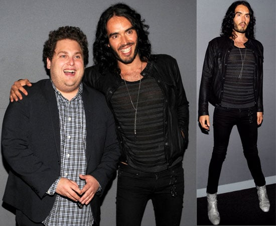 Pictures of Russell Brand and Jonah Hill Promoting Get Him to the Greek at the Apple Store