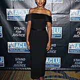Kerry chose a Spring '16 black off-the-shoulder dress from Boss, completing her look with Lorraine Schwartz diamond earrings, a matching ring, and lace-embroidered Paul Andrew pumps.