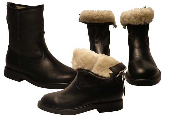 F-Troupe Black Leather Sheepskin Lined Boots