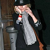 Scarlett Johansson Covers Up Following a Night of Music With Justin Long