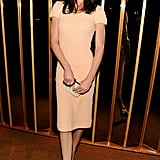 Hilary Rhoda made the case for nude-hues in a soft, fitted sheath.
