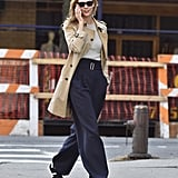 With Tailored Trousers and a Trench