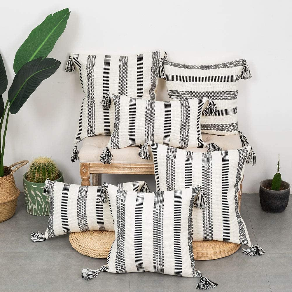blue page Set of 2 Cotton Black and White Stripe Neutral Throw Pillow Cases