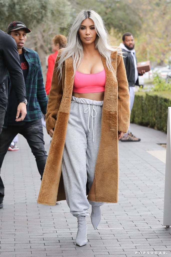 Kim Kardashian Wearing Sock Boots and Sweatpants