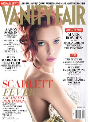 "Scarlett Johansson is on the cover of December's Vanity Fair and, inside, addresses her nude photo scandal once again. She was also on CNN in September to speak about how she believes that actors are entitled to their own personal privacy, but seemed happy to divulge some personal information to the magazine regardless. We Bought a Zoo star Scarlett spoke about the artistry behind her shots as well as how they were intended for the eyes of her then-husband Ryan Reynolds only. She also touched on how hard it was to go through their public split right after she wrapped up a Tony-winning Broadway run in A View From the Bridge. Scarlett said:  On the poses: ""I know my best angles."" On the intended recipient: ""They were sent to my husband. There's nothing wrong with that. It's not like I was shooting a porno. Although there's nothing wrong with that either."" On the tough time after her divorce and wrapping up a run in A View From the Bridge: ""I didn't really know what to do with myself. It was such a strange time. There was nothing that was interesting to me. I had a very public separation. It was difficult. I felt very uncomfortable."""