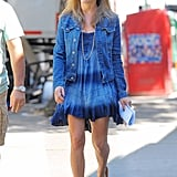 To go with her all-blue outfit, Jennifer rocked a pair of strapless gladiator thong sandals in June 2013.