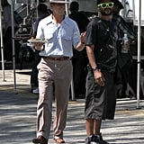 Ryan Gosling waived hello to the crew on the set of The Gangster Squad.