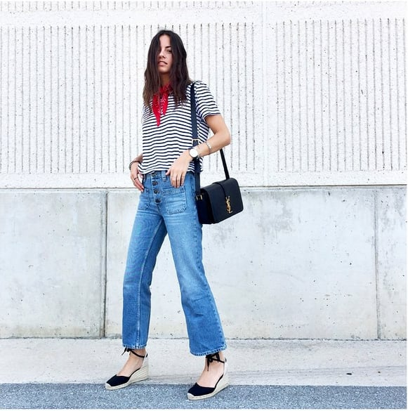 High-Waisted Jeans, a Striped Shirt, and Espadrilles