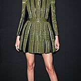 Kendall channeled her inner warrior in a tough army green minidress during Haute Couture Fashion Week in 2014.