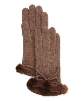 Portolano Cashmere Fur-Cuffed Gloves