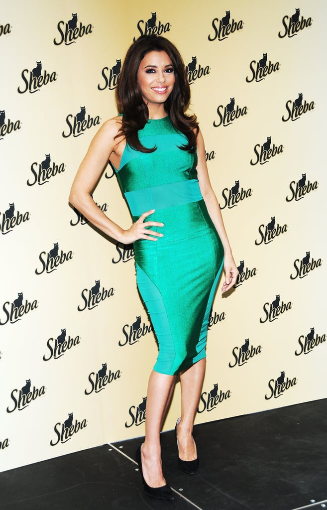 For an all-out sexy St. Paddy's Day ensemble, look no further than Eva Longoria's formfitting emerald-green dress she wore to a Sheba event in NYC.