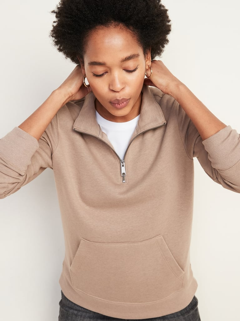 Relaxed 1/4-Zip Mock-Neck Pullover
