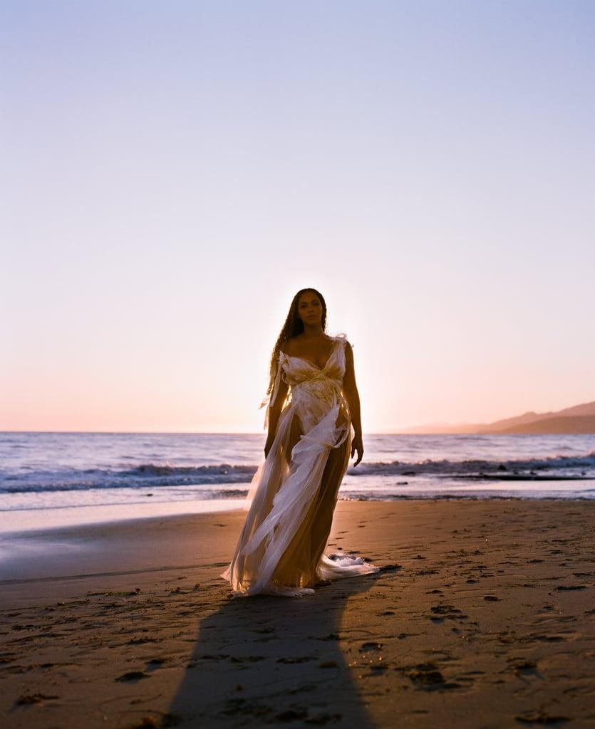 Beyoncé wears a spring 2020 Wendy Nichol dress on the beach.