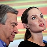 Angelina Jolie at Al Zaatari camp for Syrian refugees.