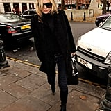 Kate Moss grabbed lunch in Chelsea, London.