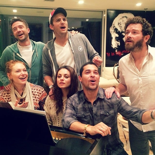 The cast of That 70's Show — Ashton Kutcher, Mila Kunis, Wilmer Valderrama, Danny Masterson, Topher Grace, and Laura Prepon — reunited for a sing-along. Source: Instagram user wilmervalderrama