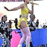 Katy showed a little leg while performing at KIIS FM's Wango Tango in 2017.