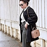 Paper Bag Pants With a Cozy Knit, Duster, and Crossbody Bag