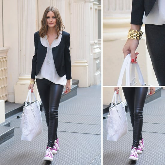 Olivia Palermo Spotted Wearing Pink Sneakers And Leather Pants: Steal Her Style Via Shopstyle