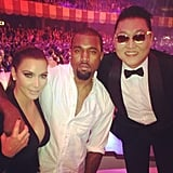 "Kim Kardashian and Kanye West partied with ""Gangnam Style"" star Psy at the MTV EMAs. Source: Instagram user kimkardashian"