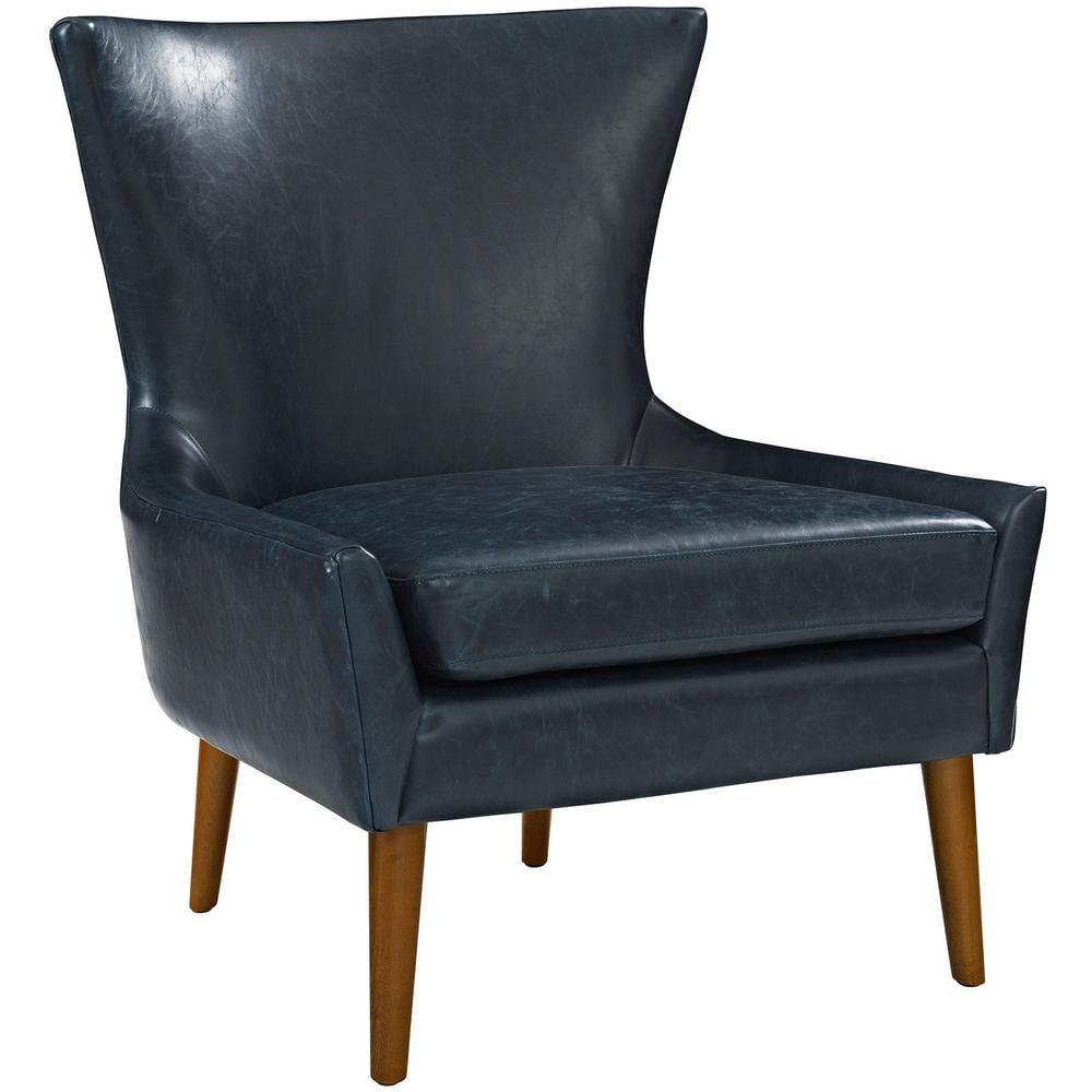 MODWAY Keen Blue Upholstered Vinyl Armchair