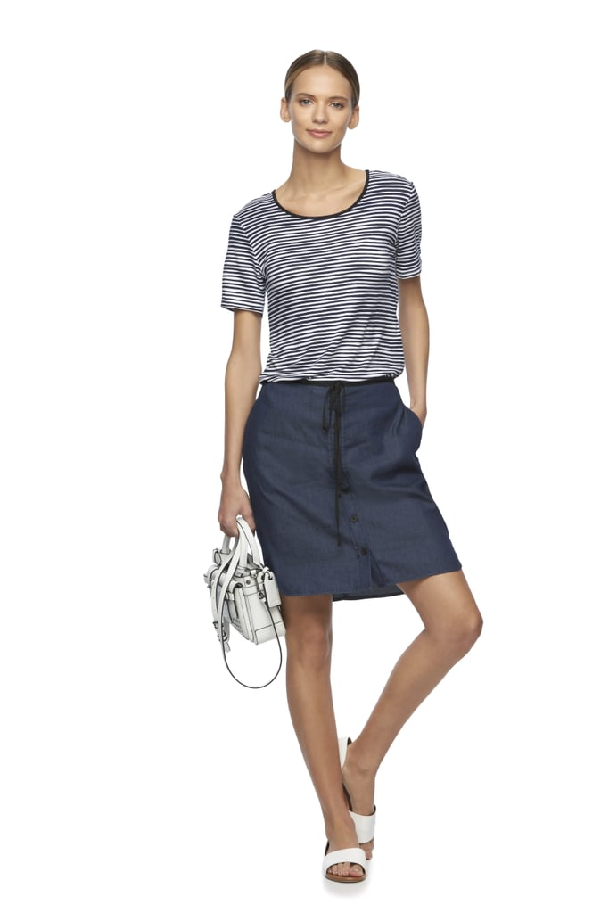 Striped Tee ($38), Chambray Skirt ($40), and Atlantique Convertible Mini Satchel ($89)