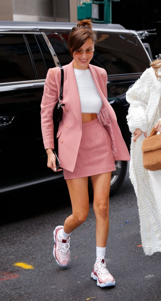 1e00c767532 Bella Hadid Rocked a Pink Skirt Suit With an Asos Fuzzy Sweater and Chunky Dad  Sneakers