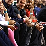 David Beckham took a courtside seat for the Miami Heat game in Miami.