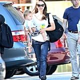Natalie Portman and Aleph Millepied made their way through an LA parking lot.