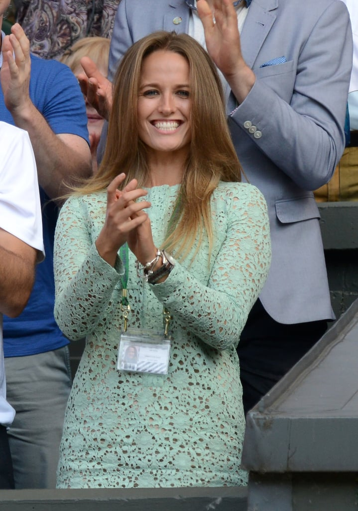 Perhaps minty green is her lucky color? Kim chose a long-sleeved lace dress for Andy's final match — aka the day he defeated Novak Djokovic at the men's singles final to claim the trophy.