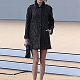 Alexa Chung worked her mile-long legs at London Fashion Week while attending Burberry's show.