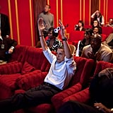 Watching the Super Bowl at the White House family theater in 2009.
