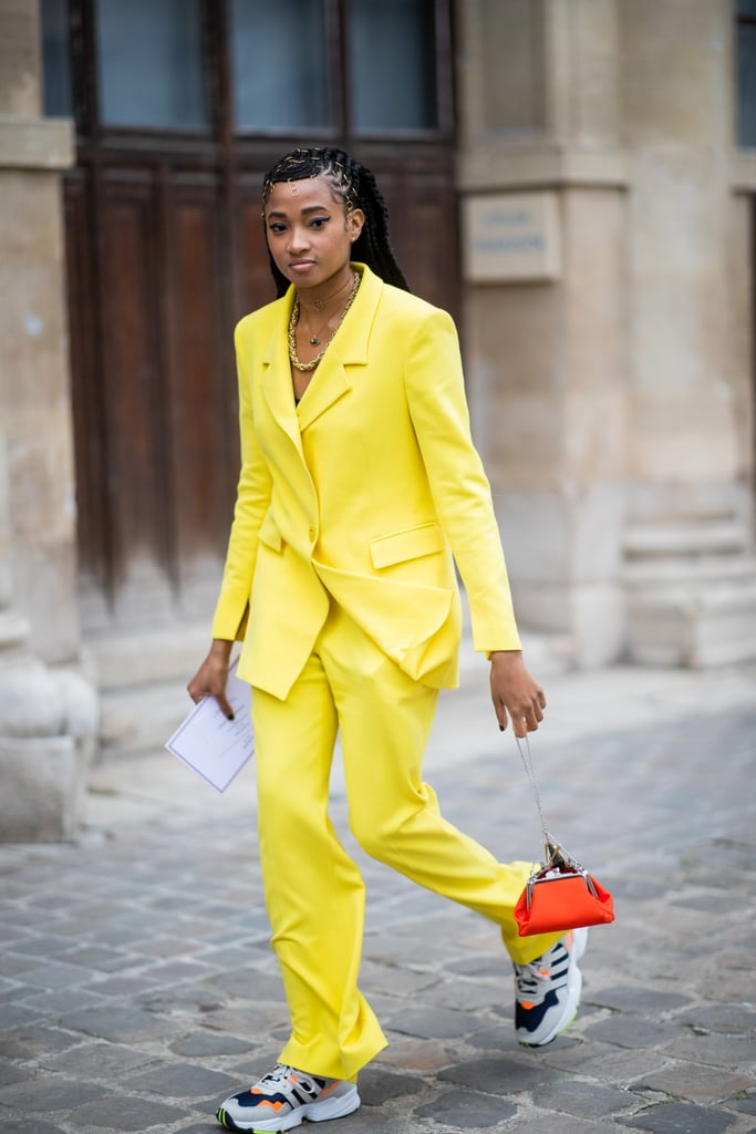 Mix Chunky Sneakers With a Colorful Suit