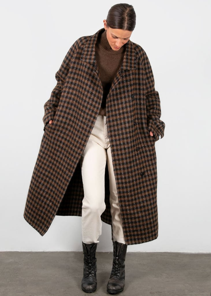 Frankie Asymmetrical Button Wool Blend Coat in Black and Brown Check