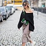 With an Off-the-Shoulder Jumper, a Midi Skirt, and a Crossbody Bag