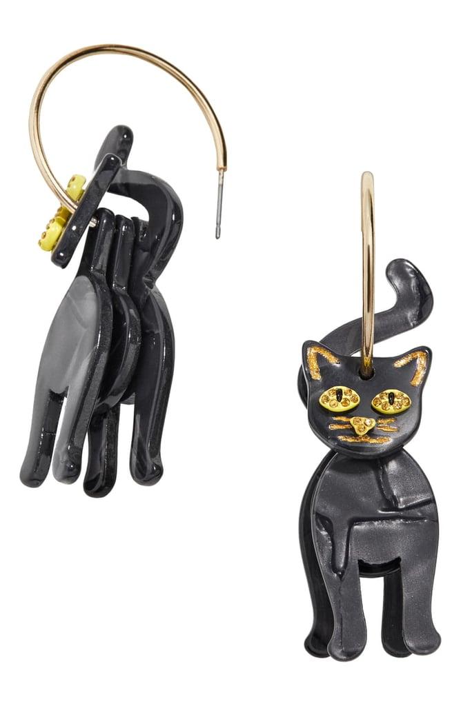 BaubleBar Black Cat Hoop Earrings