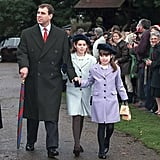 Beatrice and Eugenie rocked cute coats and berets as they arrived for Christmas Day church service with their dad in 1998.