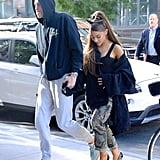 Ariana joined Pete again in the Big Apple in late June, working Re/Done cargo pants and an oversize denim jacket with Christian Louboutin heels. Her iconic cat ears were the icing on the cake.