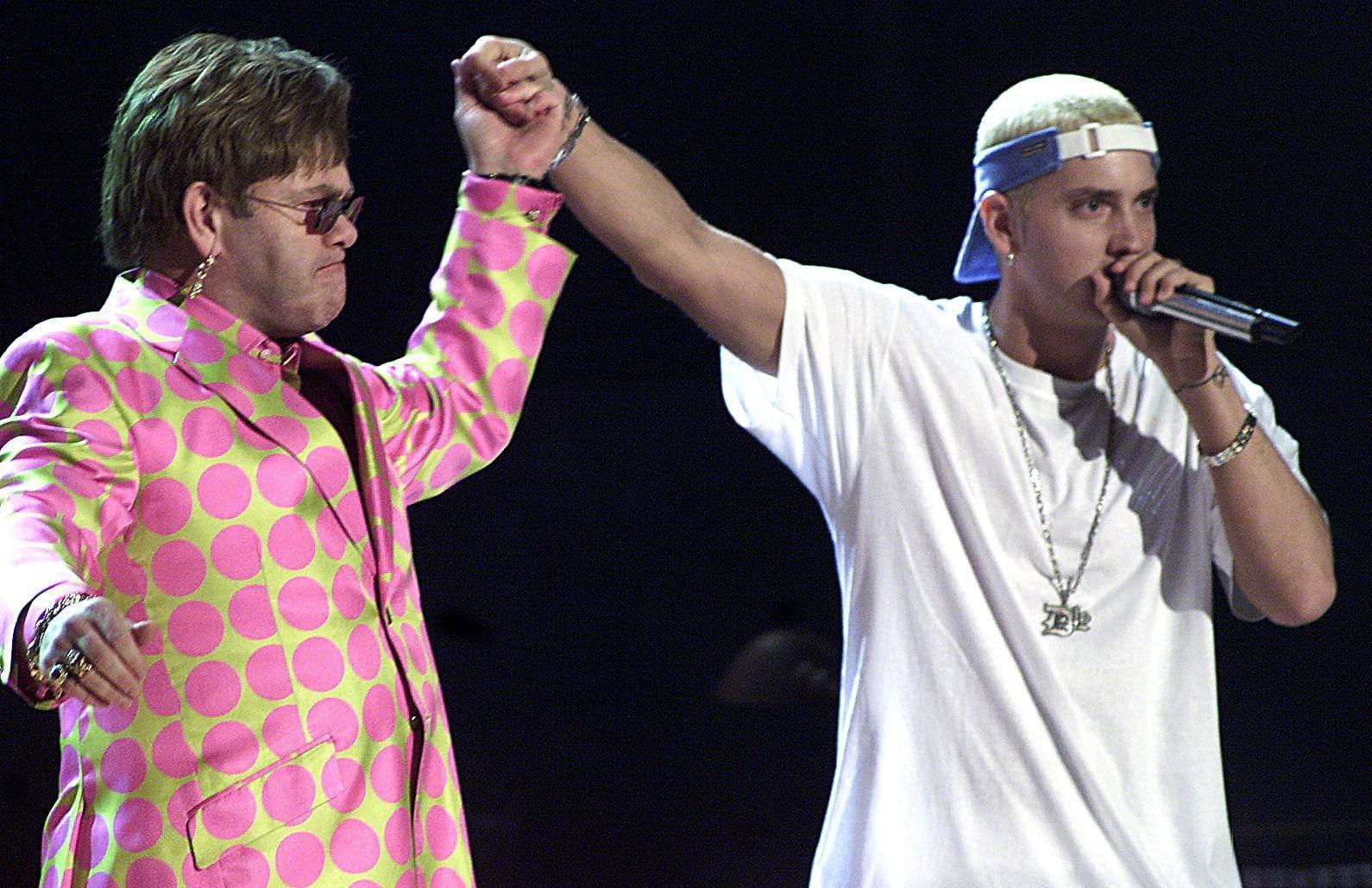 Elton John and Eminem famously performed together in 2001.