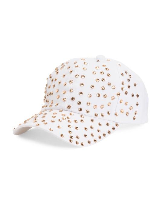 Twill Baseball Cap With Rhinestones
