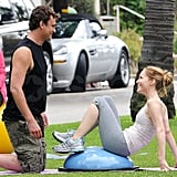 Jason Segel and Leslie Mann got a workout in on set.