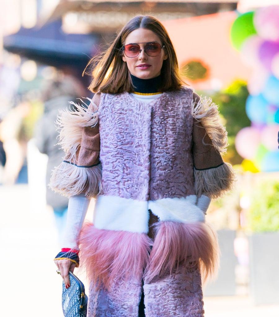 Olivia Palermo Wearing a Pink Fringe Coat