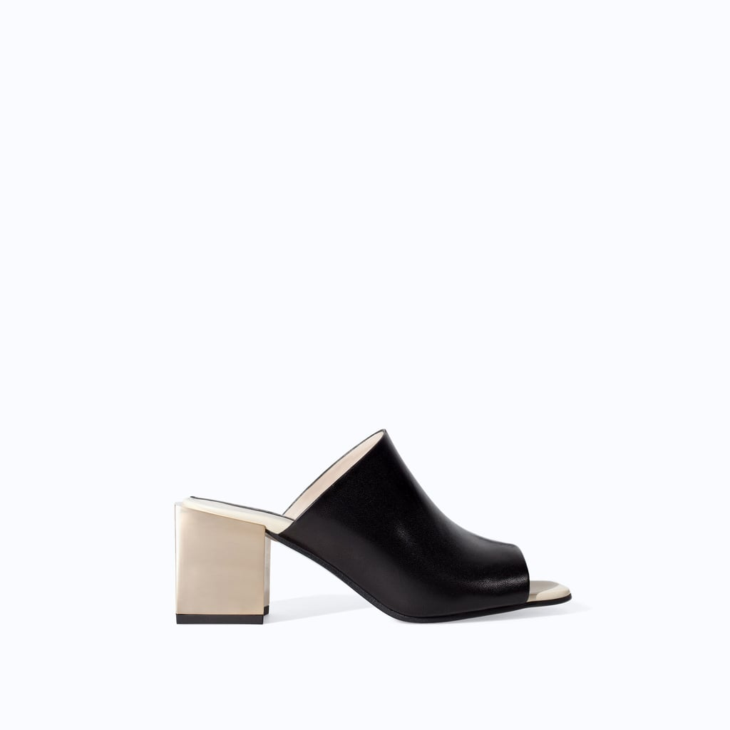 Zara Leather Wide Heel Mule