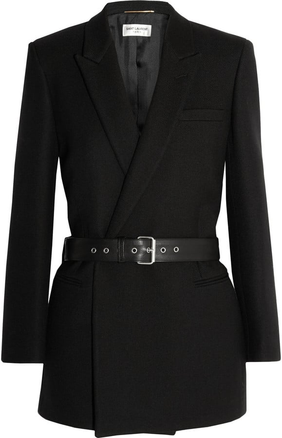 Saint Laurent Belted Double-Breasted Wool-Twill Blazer  ($3,850)