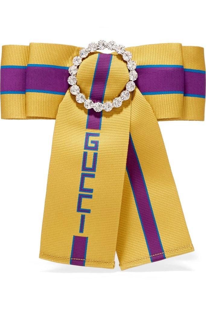 Gucci Crystal-Embellished Printed Grosgrain Brooch