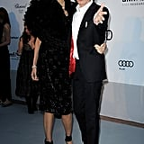 I love how serious L'Wren Scott looks and how goofy Mick Jagger is.